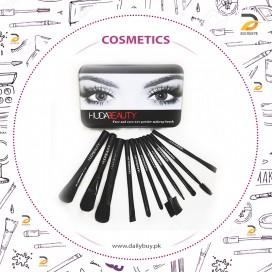 Huda Beauty Pack of 12 Makeup Brushes (Black)